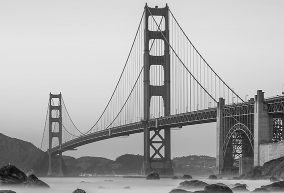black and white image of the golden gate bridge
