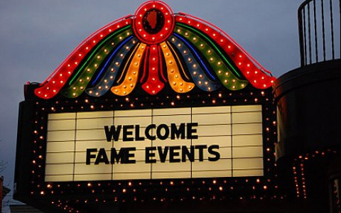 Colorful Vintage Marquee at the Genesee Theatre in Waukegan Illinois