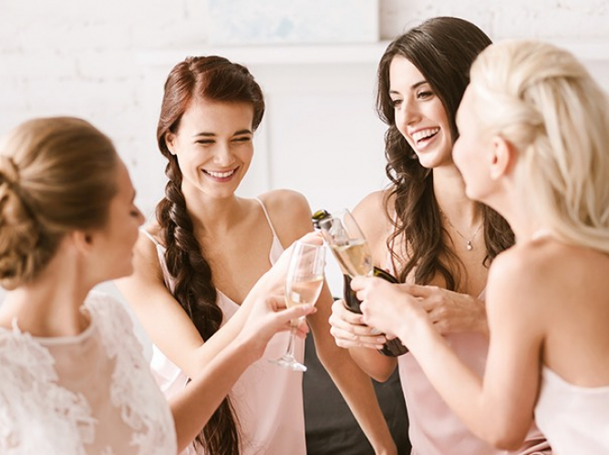 women toasting before wedding