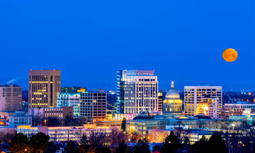 night view of boise skyline