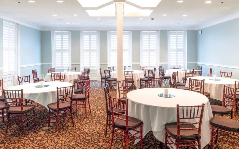 Dining room setup with round tables