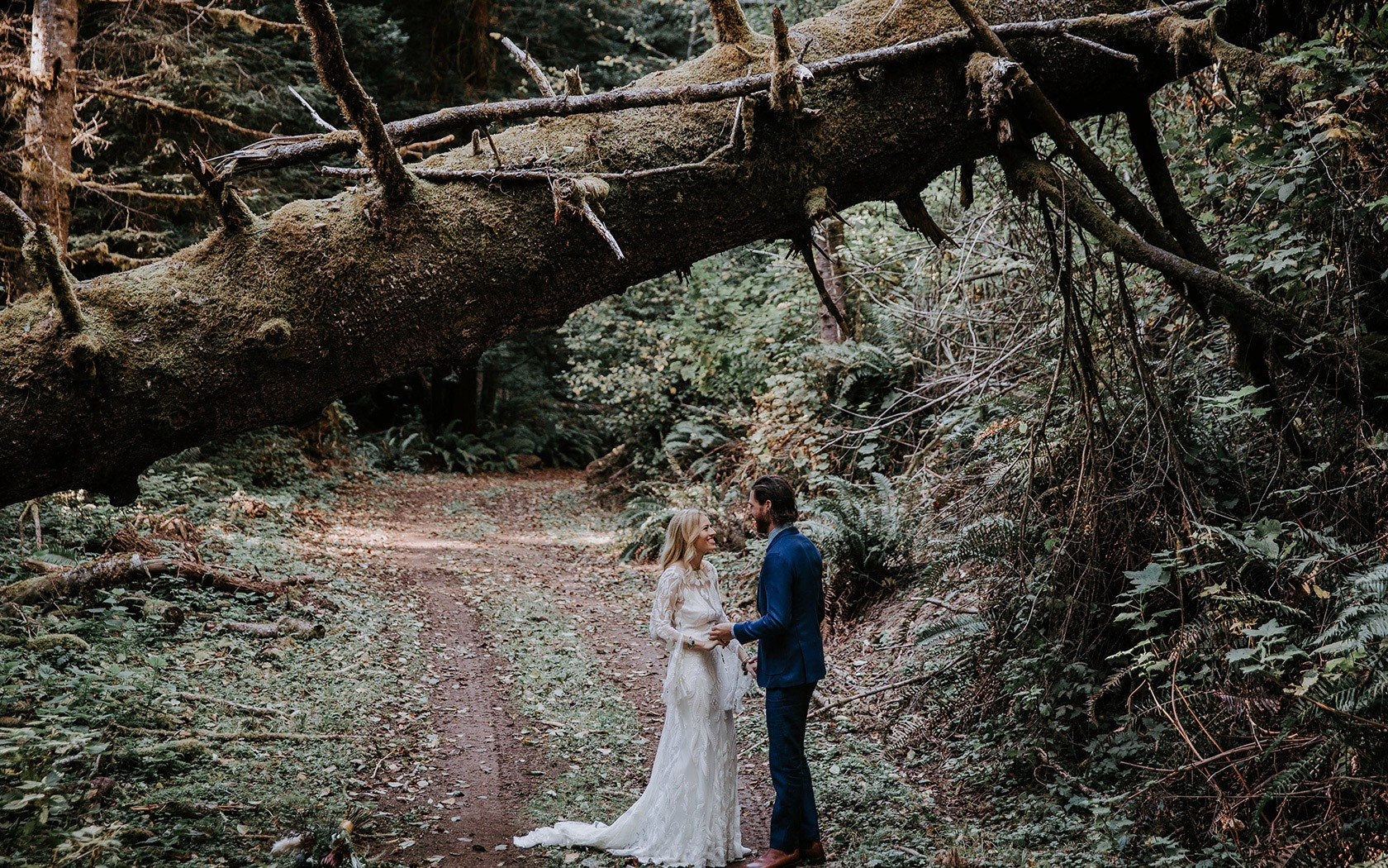 bride and groom standing under a log in the forest