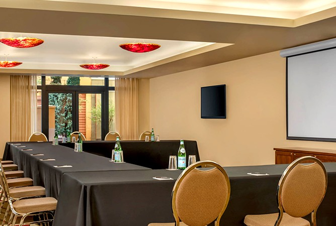 conference tables in hotel meeting space