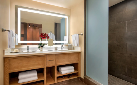 hotel bathroom vanity with mirror and towels