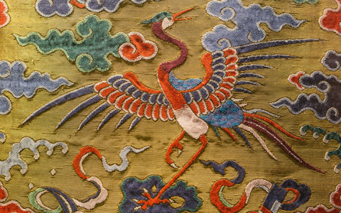 chinese embroidery of a crane