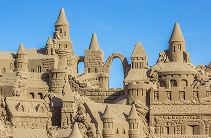 Very large and intricate sand castle
