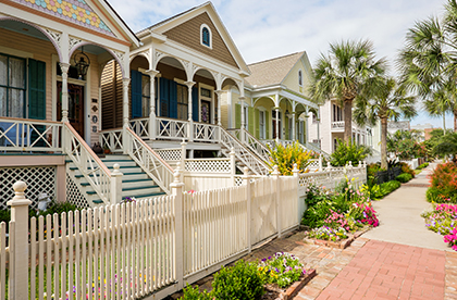 View of front porches of historical homes