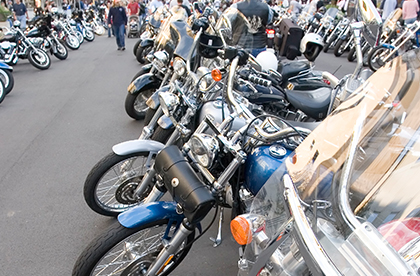 Large group of motorcycles lined up