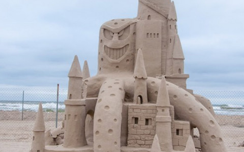 Large Funny and Fantastical Sand Castle on the Beach