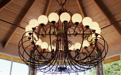 Outdoor chandelier in gazebo