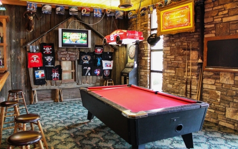 Pool table and bar lounge at the Inn Pub