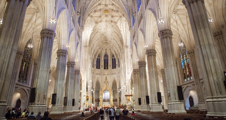Gothic style architecture inside of St Patricks Cathedral