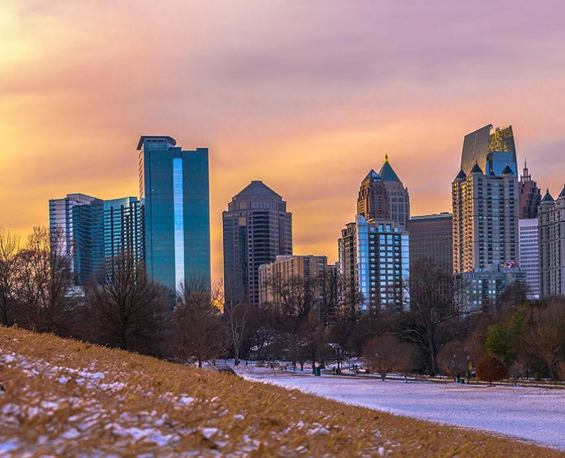 Atlanta skyline at dawn with snow on the ground