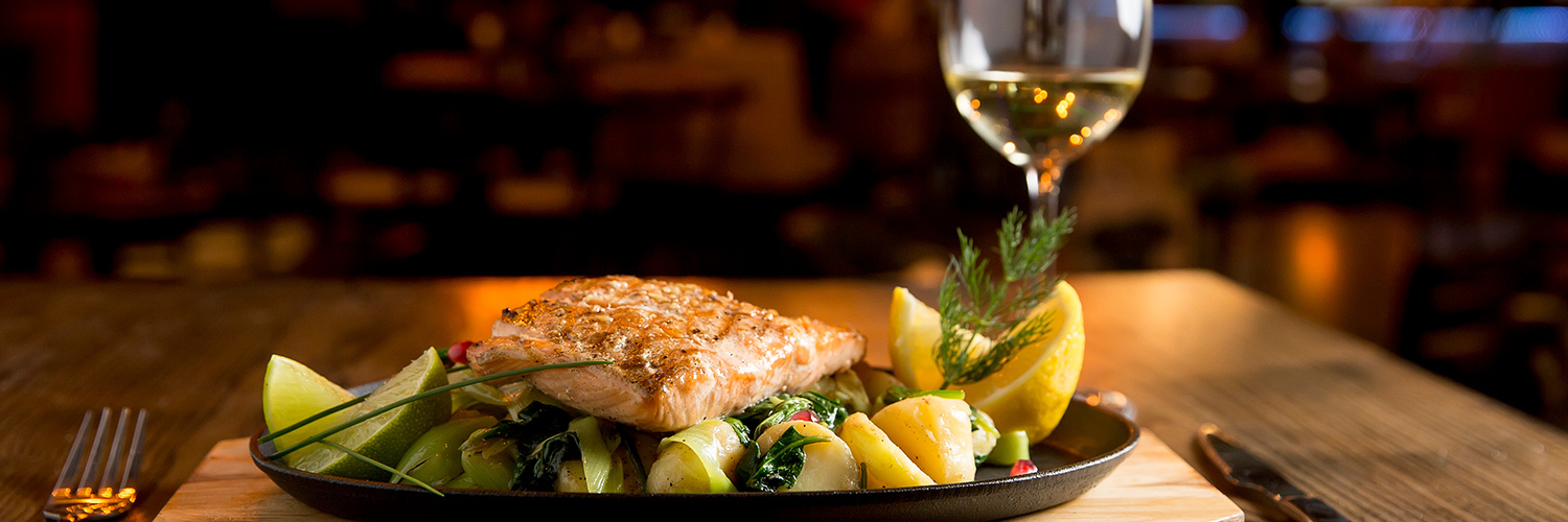 Salmon with a glass of wine