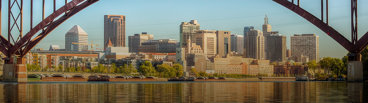 panoramic view of saint paul minnesota from river