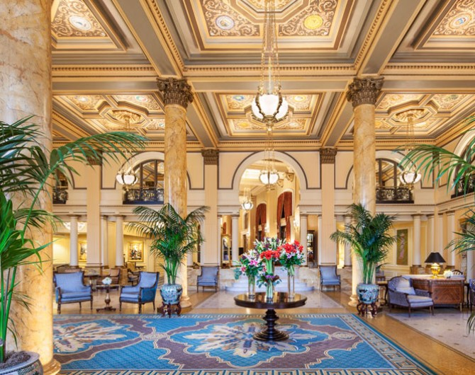 grand lobby with chairs and plants