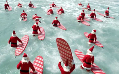 Catch a Wave with Santa Claus
