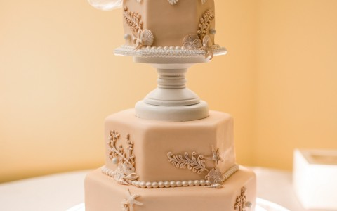 Wedding cake with seashell decor & starfish wedding toppers