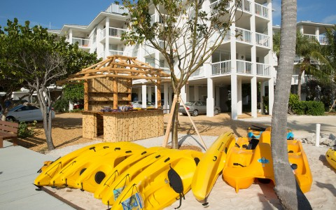 yellow kayaks lined up on the beach
