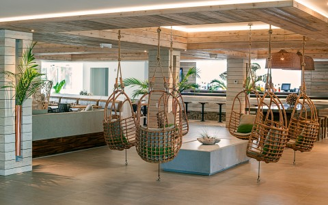 Lobby hanging chairs made of wood