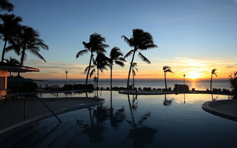 pool with gorgeous sunset view