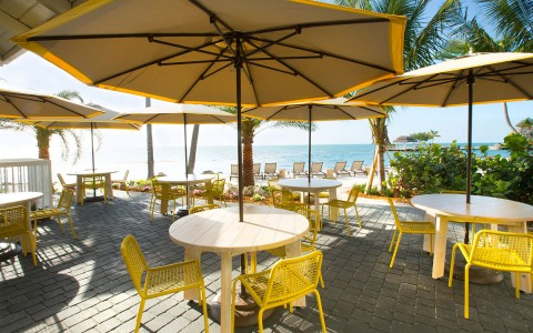 outdoor dining with round tables, umbrella's and yellow chairs with an ocean view