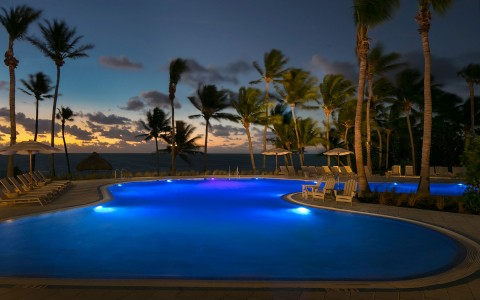 Pool Outside at night
