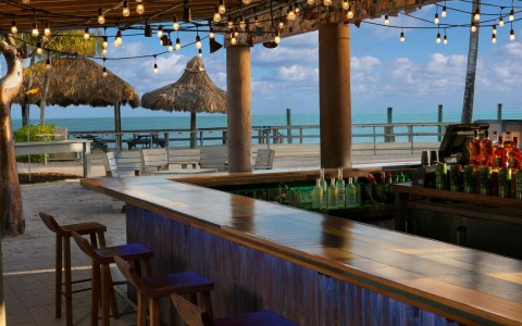 tiki bar with lights hanging