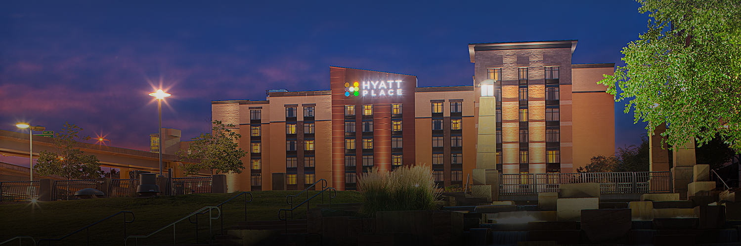 exterior of hyatt place hotel at night time