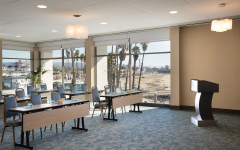 private conference room space with podium
