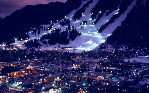 mountainside slopes at night