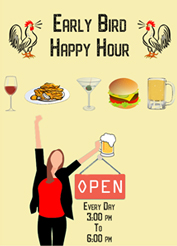 early bird happy hour graphic