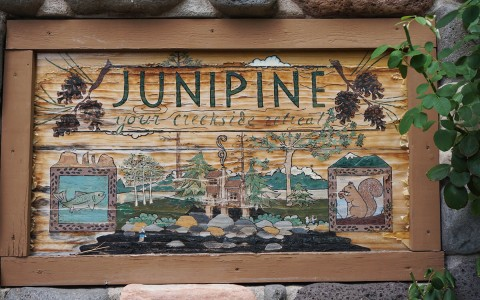 Junipine Resort Sign