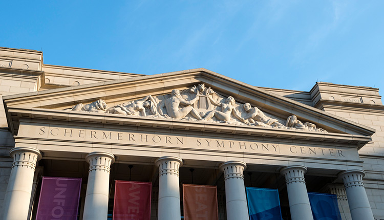 Entrance of the Schermerhorn Symphony Center with columns