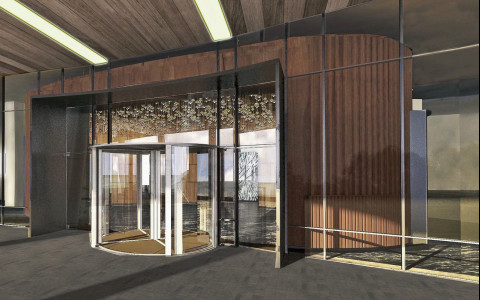 Rendering of hotel entrance with rotating glass door