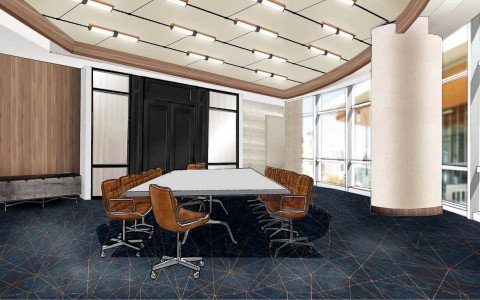 Rendering of meeting room with long table & brown rolling chairs