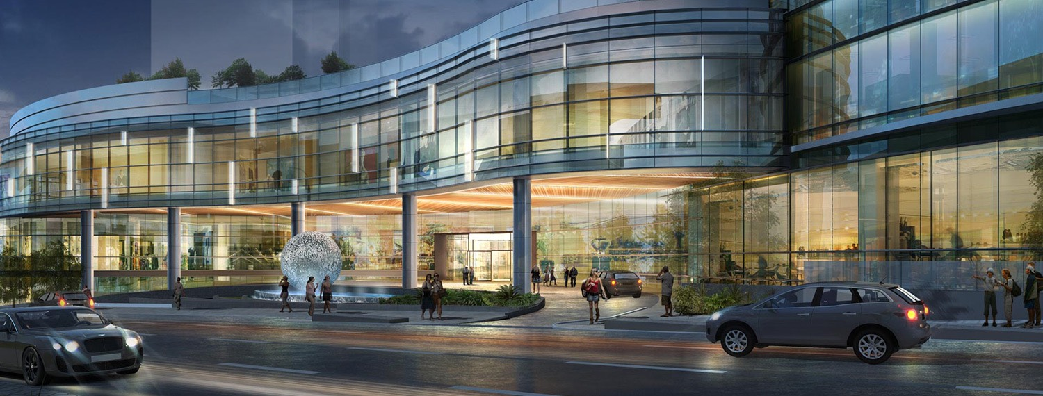 Rendering of cars driving by convention center building