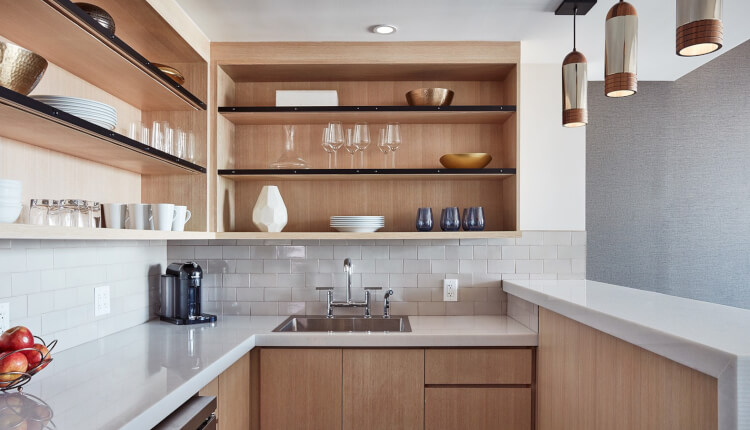 kitchenette with sink and spacious countertops and shelves