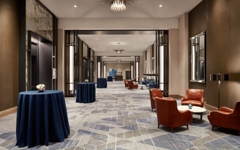 long corridor of event space outside of rooms