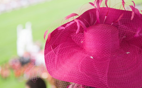 pink derby hat close up