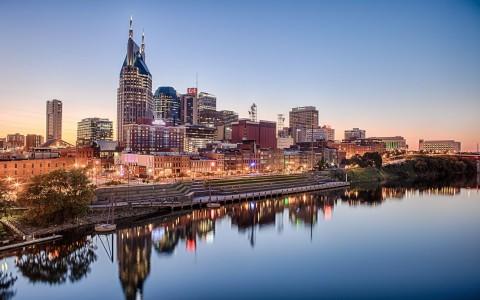 Nashville downtown skyline in the sunset