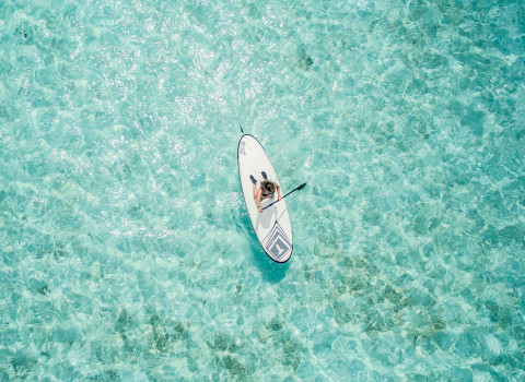 Overhead shot of a woman paddleboarding