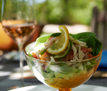 salad in wine glass