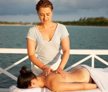 Woman getting a massage outside