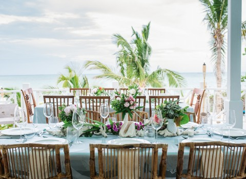 decorated table overlooking the ocean