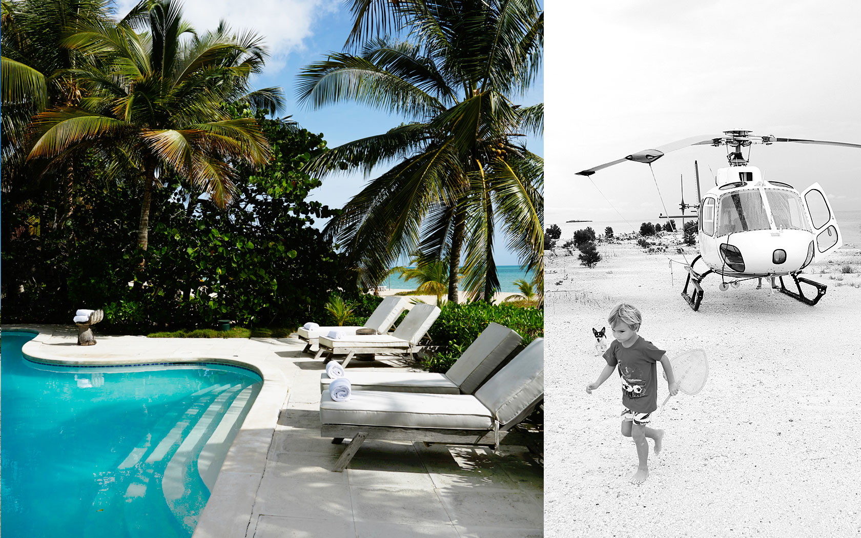 lounge chairs by the pool and a black and white photo of a kid on the beach with a helicopter in the background