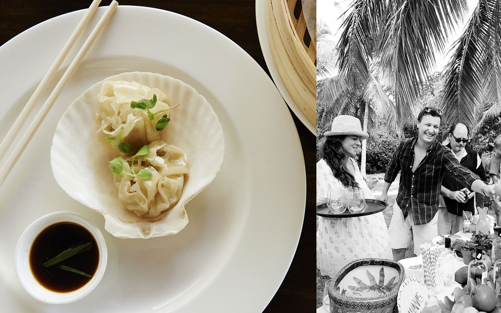 plate of dumplings and a black and white photo of people getting food outside