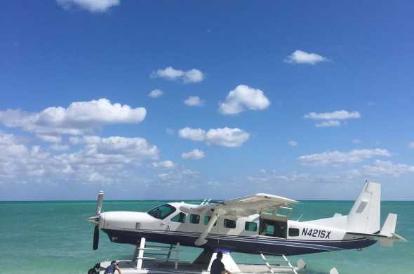 sea plane by the beach