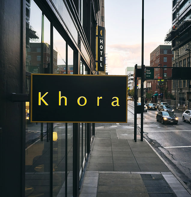 khora sign by the door