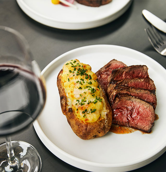 plate with steak and baked potato and a glass of wine